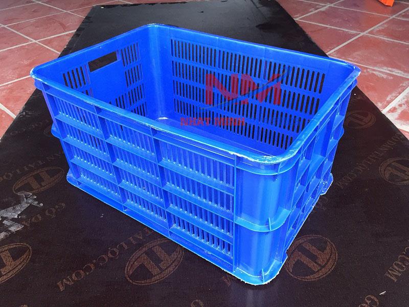 Rổ nhựa 6 sóng xanh