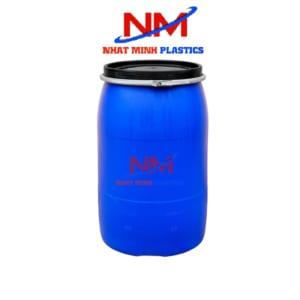 Thùng phi nhựa xanh nắp hở đai sắt 200l được nhiều người lựa chọn