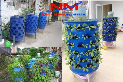 Thùng phuy nhựa trồng rau