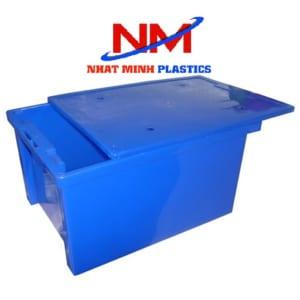 Thùng nhựa đặc có nắp đựng thủy sản