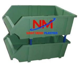 Khay nhựa xếp tầng cũ chất lượng 80%