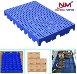Mua pallet nhựa lót sàn với nhiều ưu điểm:độ bền cao,chống ẩm ướt,mối mọt,,nhẹ,dễ vệ sinh