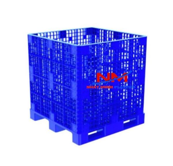 Pallet box 1200 x 1200 x 1250 mm sử dụng cả trên băng tải và tự động