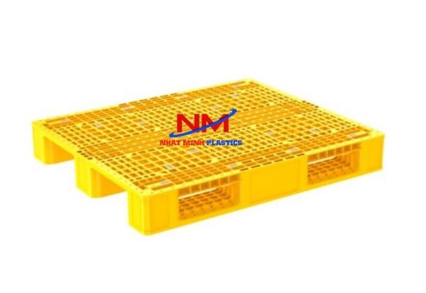 Pallet nhựa 1 mặt 1200 x 1000 x 160 mm màu vàng