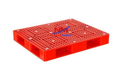 Pallet nhựa 2 mặt 1200 x 1000 x 150 mm sử dụng 2 mặt tương đương nhau,không phân biệt