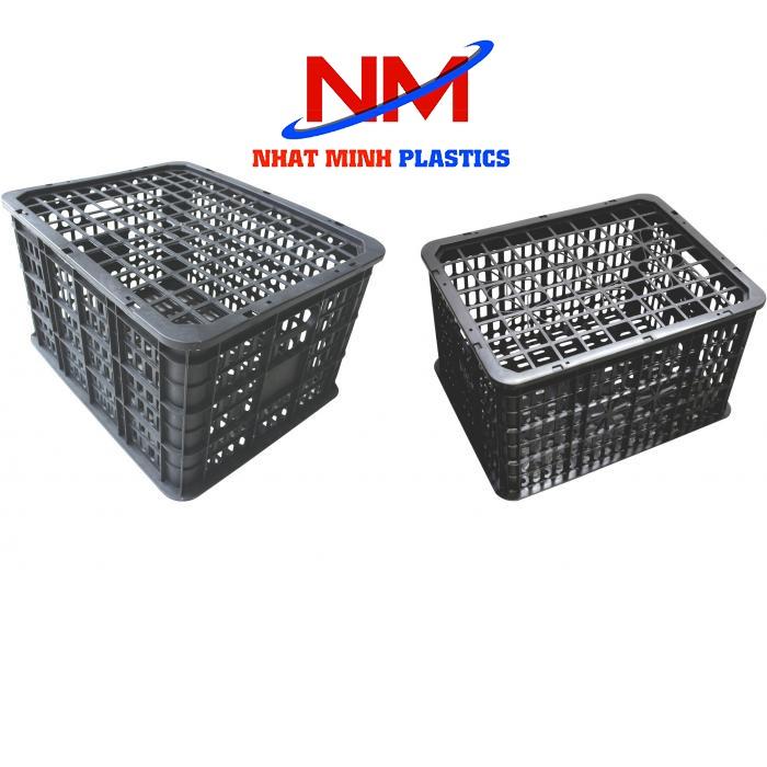 Sọt nhựa đen đựng trái cây được làm từ chất liệu nhựa tái chế có pha một ít nhauwj nguyên sinh để tăng độ bền,độ dẻo cho sọt nhựa