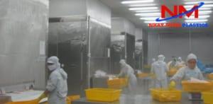 Kho chứa thực phẩm đông lạnh sử dụng rổ nhựa công nghiệp chứa và phân loại thực phẩm