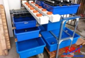 Hệ thống tank nhựa nuôi cá của khách hàng được lắp đặt rất chuyên nghiệp,tinh tế