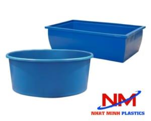 Tank nhựa hình chữ nhật và tank nhựa hình tròn