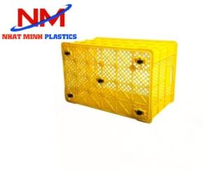 Mẫu rổ nhựa vuông chứa và vận chuyển hàng hóa có bánh xe rất tiện lợi di chuyển