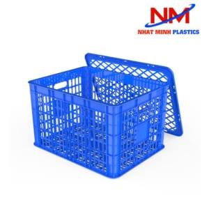Rổ nhựa vuông đựng hàng có nắp giá rẻ tại Nhật Minh