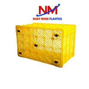 Sử dụng rổ nhựa vuông cao bền chắc có bánh xe tiện dụng,có thể tháo rời dễ dàng